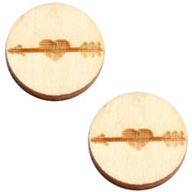 2 x Houten cabochon basic 12 mm arrow&heart White wood ( natuurlijke kleur van het hout)