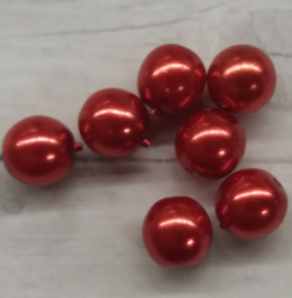 20 Stuks rode glasparels  6mm gat 2mm