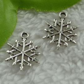 6 x Tibetaans zilveren sneeuwvlokje 15 x 20 x 1,5m Gat: 1,5mm