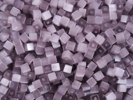 20 stuks Glaskraal kubus cate-eye 4mm Lavender