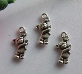 4 x Tibetaans zilveren beertje 19 x 9,5mm