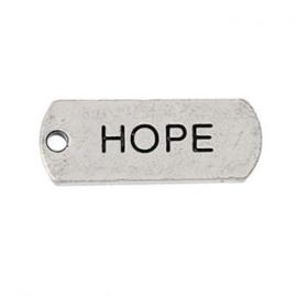 2 x Metalen Bedel Antiek Zilver Hope maat: 21x8 mm