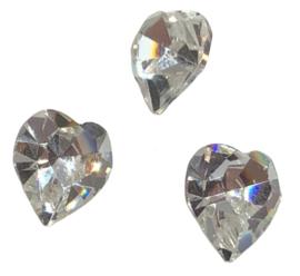 2x Precosia kristal in de vorm van een hart Transparant 10 mm