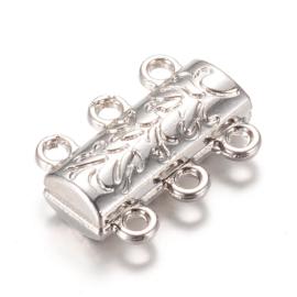 Magneetsluiting 3 strengen 14 x 19 x 6mm oogje 1mm verzilverd