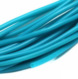 100 cm hol Rubber DQ koord 2mm per meter geknipt turquoise