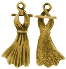 4 x  Tibetaans zilveren bedel van een jurk 25 x 11 x 2,5mm gat: 1,5mm goudkleur