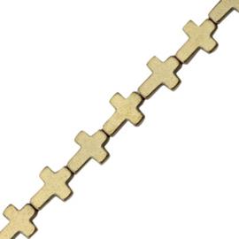 2x Hematite kralen kruis Antique goldca 6×8 mm