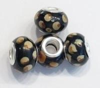 Per stuk Glaskraal European-style zwart met beige stippen 14 mm