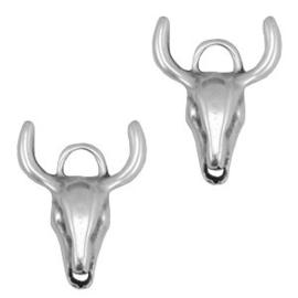 1 x Bedels/tussenstuk DQ metaal buffelkop large Antiek zilver