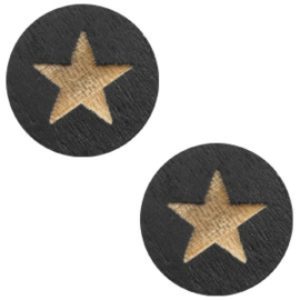 1 x Houten cabochon star 12mm Black