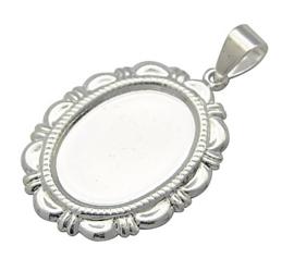 2 x Houder G: Camée of Cabochon houder. Binnenzijde: 13 x 18mm aluminium lichtgewicht zilver