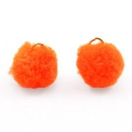2 x Pompom bedel met oog 15mm Neon orange