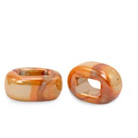 1 x C.U.S sieraden schuiver DQ Grieks keramiek 5x12mm Amberglow orange