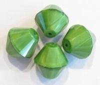 Per stuk glaskraal geslepen konisch Groen 16 mm