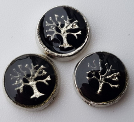 2x Floating Charms van een boom tree of life 8 mm Zwart