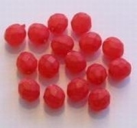 10 Stuks glaskraal facet mat rood 8 mm