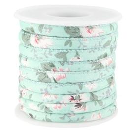 20 cm Trendy gestikt koord bloemetjes 5.5x4mm Mint groen wit
