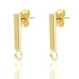 2x Onderdelen DQ metaal earpin bar 14x2mm Goud (nikkelvrij)