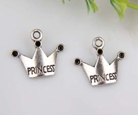 """6 x Tibetaans zilveren kroontje """"princess"""" 19 x 17mm gat 2mm"""