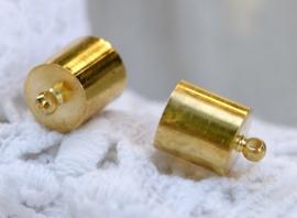 10 stuks messing cord caps 9 x 13mm binnenzijde 8mm gat: 1,2mm goudkleur