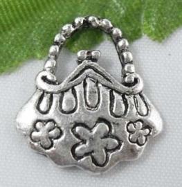4 x tibetaans zilveren bedeltje van een tasje 15 x 14mm