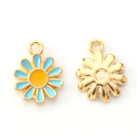 2 x vrolijke metalen bedels bloem blauw geel 14 x 12mm