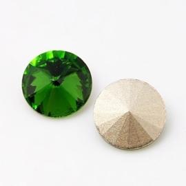 5 x Puntsteen Rivoli  Preciosa voor Puntsteen SS50 Setting c.a. 12mm fern green