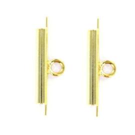2 x Miyuki slide end tubes voor delica's Goud 15x6 mm Ø 1.6 mm