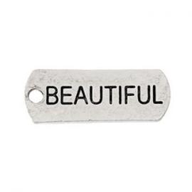 2 x Metalen Bedel Antiek Zilver Beautiful maat: 21x8 mm