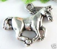4 x Tibetaans Zilveren bedel van een paard 15 x 20 x 2,5mm oogje: 2mm