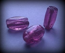 10 x facetkraal langwerpig transparant aubergine/paars 15 mm