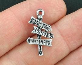 4 x tibetaans zilveren bedeltje wegwijzertje road sign to happiness, succes, money, happiness 25 x 14 x 4mm gat 2mm