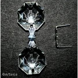 10 x Koppelstuk kroonluchterkralen, strik 11,5x10 mm, zilver
