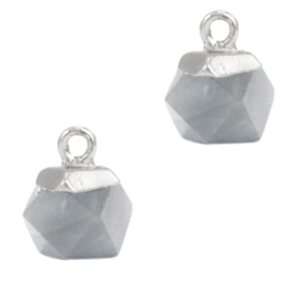 1 x Natuursteen hangers hexagon Mirage grey-silver Agaat