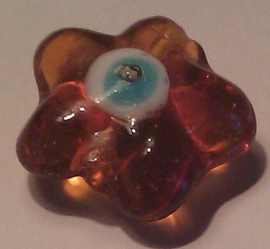 Per stuk Glaskraal bloemmotief met Nazar geluksoog transparant geel/bruin 21 mm