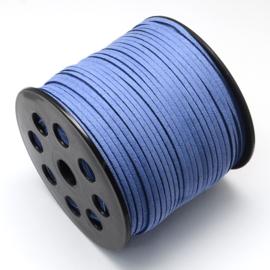 Faux suède veter,  blauw, 1 meter x 3mm