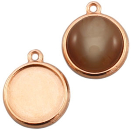 Houder N: DQ metaal settings 1 oog voor 20 mm cabochon Rosé goud (nikkelvrij)
