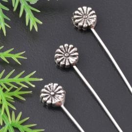 30 x Bloemen nietstiften 55mm Tibetaans zilver