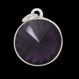 Geboorte steen hanger prachtig kristal facet 18 x 12mm - Februari Amethist zilverkleur