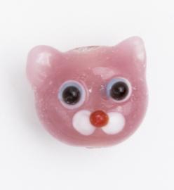 5 x roze glaskraal poes 11 x 12 x 9 mm; Gat 3 mm Handgemaakt