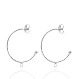 2x Roestvrij stalen (RVS) Stainless steel oorbellen/oorstekers creolen met oogje Zilver 20mm