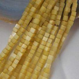 20 stuks Glaskraal kubus cate-eye 4mm Goud geel