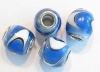 Per stuk Glaskraal European-style ovaal blauw/wit 14 mm