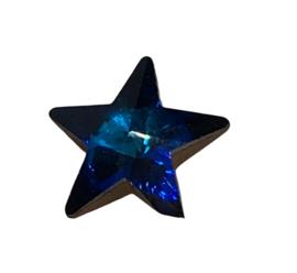2x Precosia punt Kristal Ster Blauw 10 mm