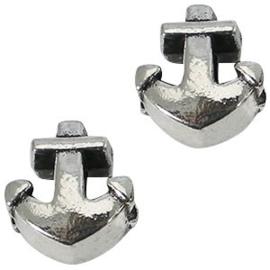 2 x Metalen Kraal Anker 13x12 mm Antiek Zilver Ø 4-5 mm