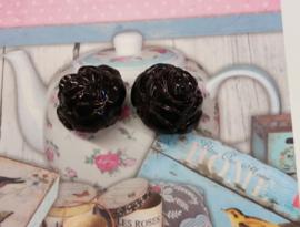 5x Luxe kunststof kraal roos zwart  25 mm Gat: 3 mm