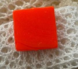 10x Glas kraal vierkant 18 x 5,5mm oranje