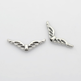 4 x  Tibetaans zilveren Engelen vleugeltje 22 x 8 x 3mm