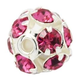 Verzilverde kristal ballen 6mm deep pink