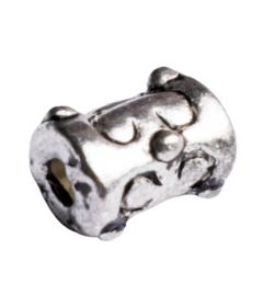 10 x metalen buiskraal zilver kleur 7,5 x 5,5mm gat: 1,5mm